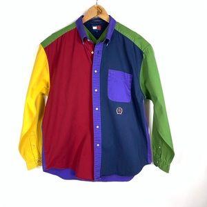 Tommy Hilfiger Colorblock Button Up Shirt Sz Large